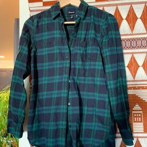 Blue-green plaid Madewell flannel